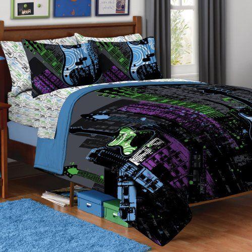 5pc boy black purple green guitar rock music twin for Music bedroom furniture