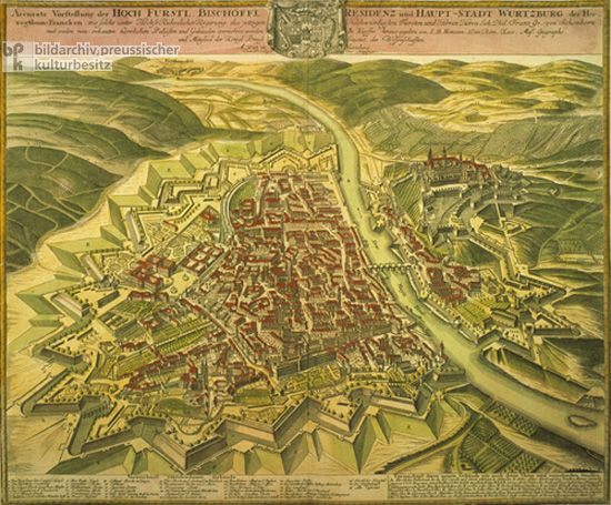 This engraving offers a birdseye view of Wrzburg in 1723 The