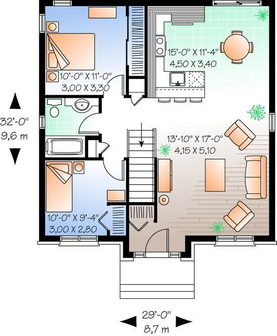 House Plan 034 00620 Narrow Lot Plan 888 Square Feet 2 Bedrooms 1 Bathroom In 2021 House Plans Small House Plans Ranch Style House Plans