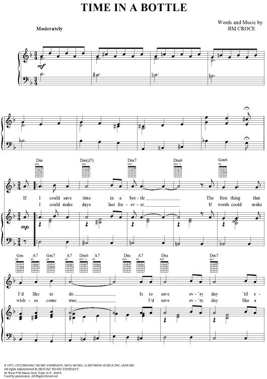 Time In A Bottle Sheet Music Guitar Sheet Music Digital Sheet Music
