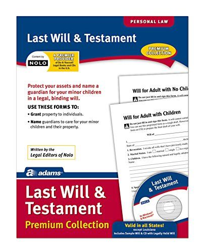 Adams Last Will and Testament, Forms and Instructions, Includes CD - last will and testament form