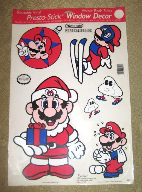 Super Mario World Christmas.Mario Christmas Window Decor Stickers Video Game Art