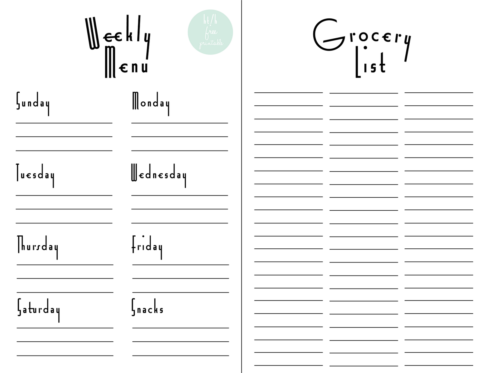 printable menu planner with grocery list