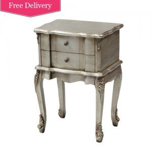 Antiqued Silver 2 Drawer French Style Bedside Table Bd Nn108 Beau Decor
