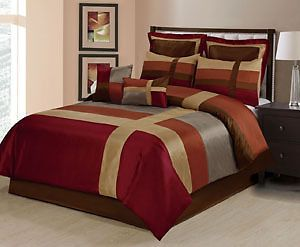 8pc Luxury Red Gold /& Brown Bedroom Comforter Set AND Deco Pillows ALL SIZES