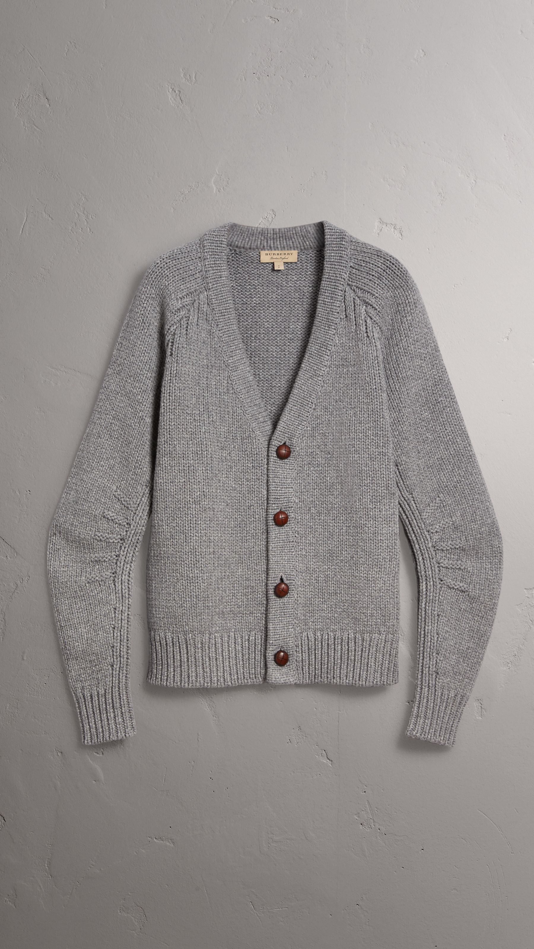 States Cashmere Wool Men Chunky Mid Grey Burberry in Cardigan United Knit Melange wPqEqRO