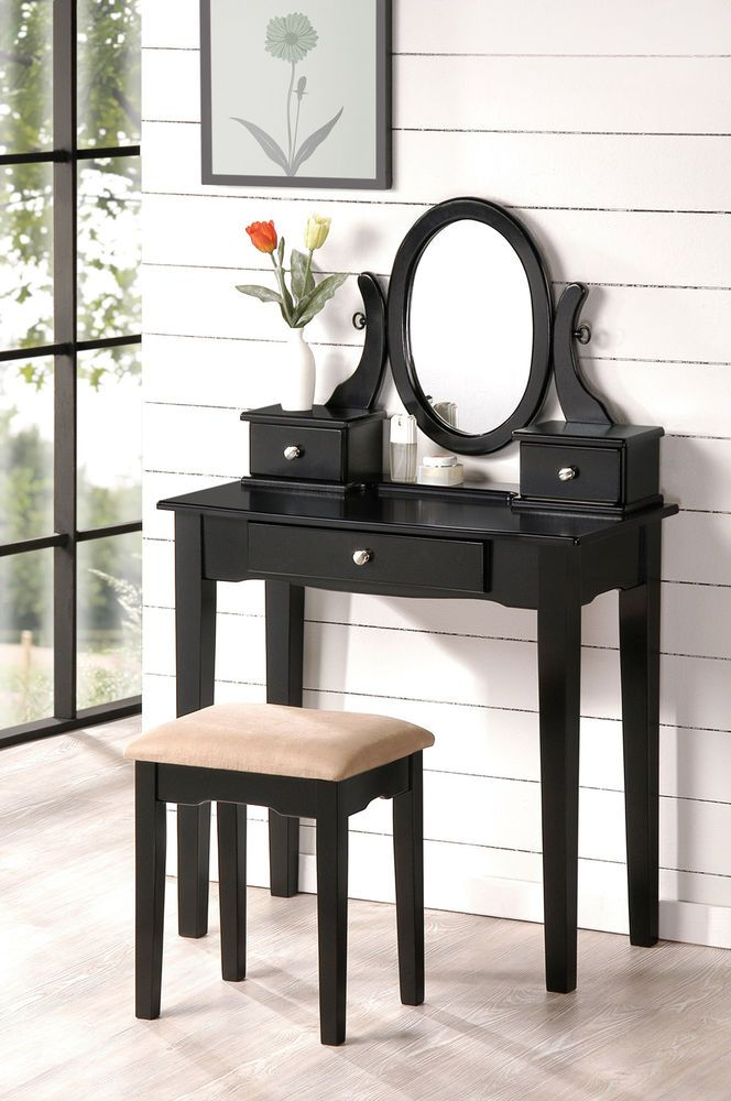 Pair Bed Stools: Beautiful Bobkona Collection Vanity Makeup Table & Stool