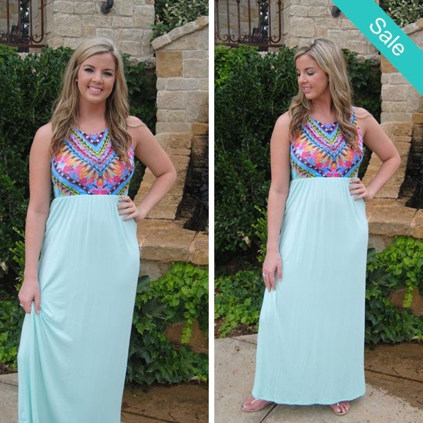 SALE! Only $20 with free ship!  Dashing in Color Maxi Dress in Mint.  1 medium and 1 Large Comment with email and state to purchase or head to our website and enter code Summer20!