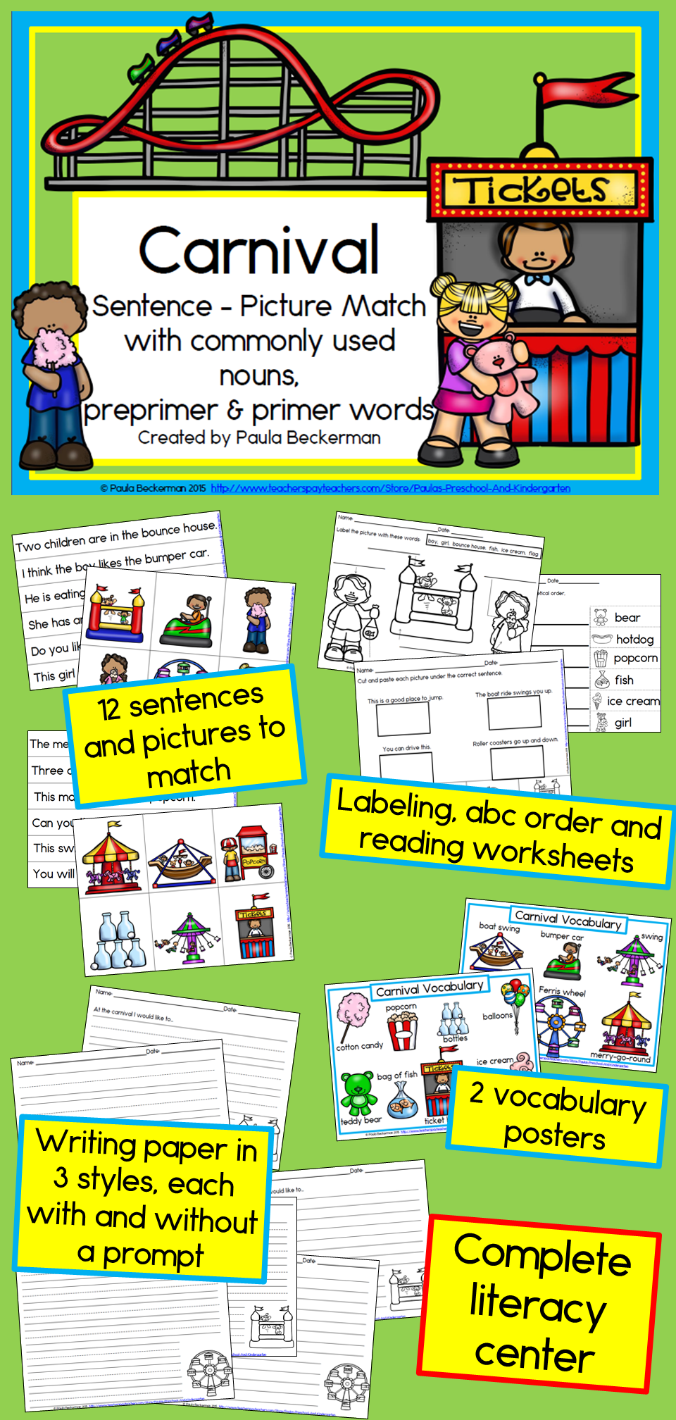 Carnival Sentence Picture Match Reading Centers Vocabulary Posters Reading Fun