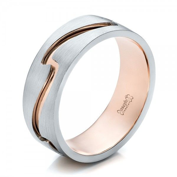 Custom Men S Two Tone Rose Gold And Platinum Band 100819