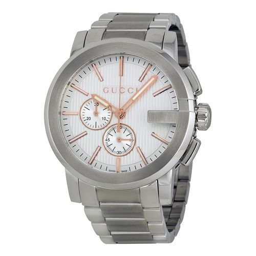 Gucci G-Chrono Chronograph Silver Dial Stainless Steel Men's Watch (W-YA101201)