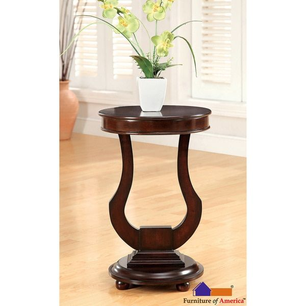 Furniture Of America Dark Walnut Beltro Transitional Bell Shape Side Table. Small  End ...