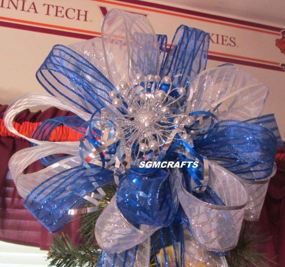 Royal Blue and Silver Christmas Tree Topper Christmas Tree Bow