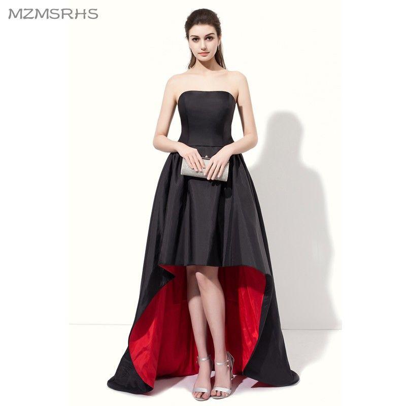 Elegant Strapless Black Red Prom Dresses 2017 High Back Low Front ...