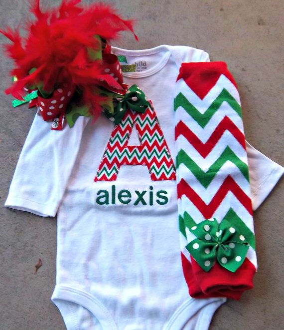 Baby Girl Christmas Outfit personalized by LilBeanBabyBoutique