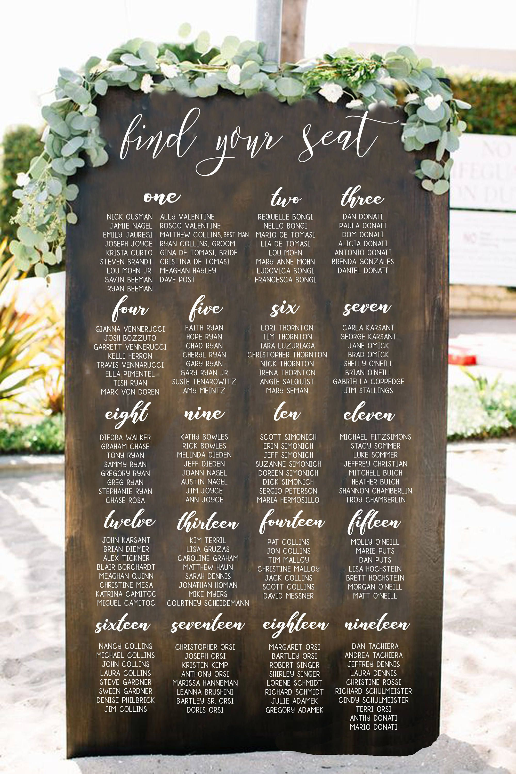 Seating Chart Goals Wedding Seating Chart Sign Wooden Wedding