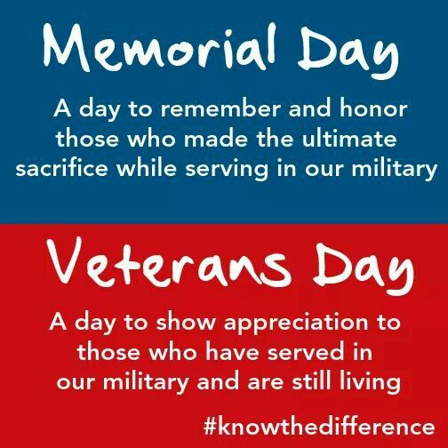 5eb1c80cd7 The difference between Memorial Day & Veterans Day. | Words to live ...