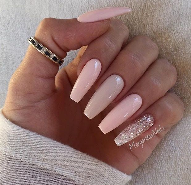 Pink And Neutral Coffin Nail Design With A Pop Of Glitter
