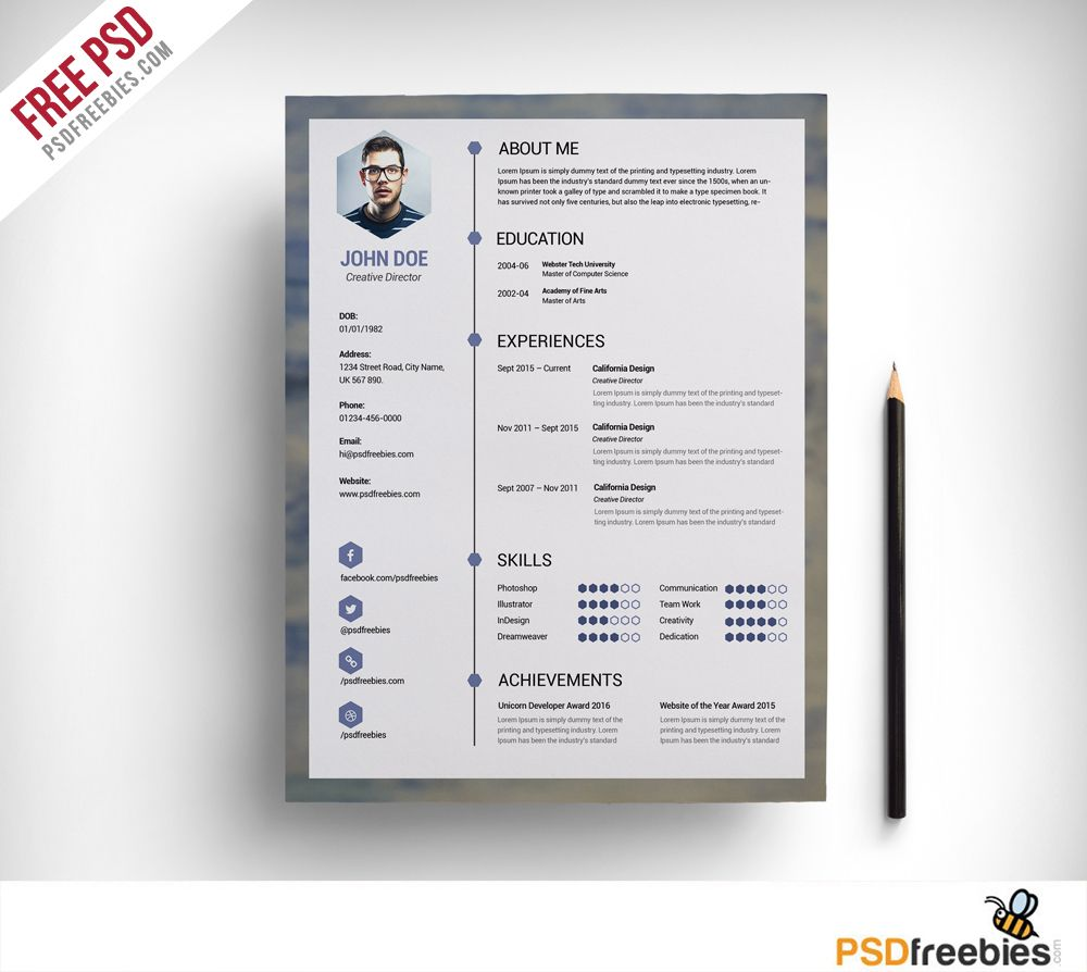Delicieux Download Free Clean Resume PSD Template. This Resume/CV Template Are  Completely Editable In