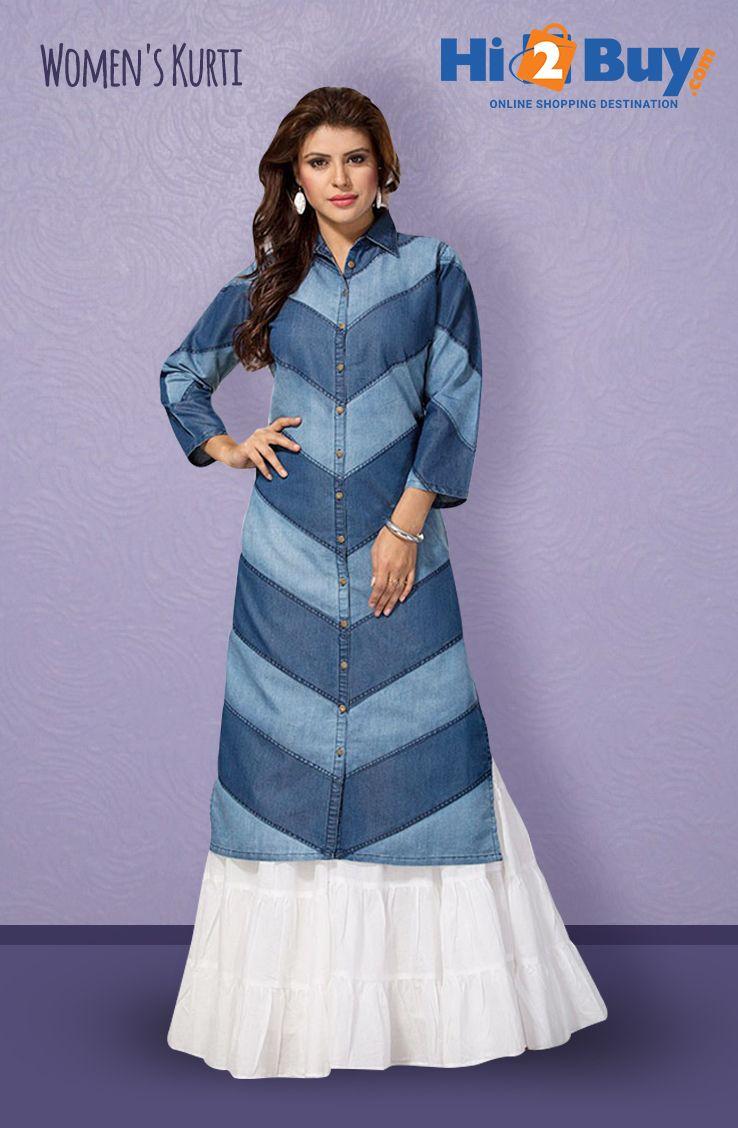 Women's Regular Fit Blue Denim Kurti Hi2Buy.com. #Hi2buy #Kurti #OnlineShoppingDestination