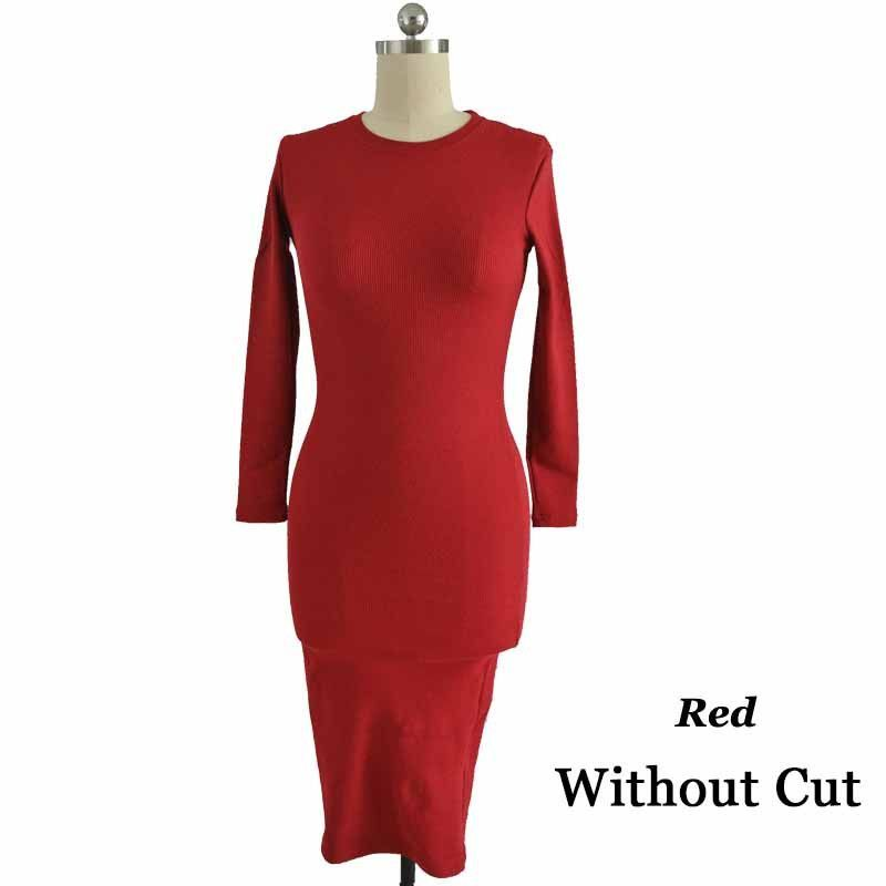 2016 New Fashion Knitted Women Dresses Black Red Warm Sweater Dress O-Neck Ruched Wrap Long Sleeve Pencil Office Winter Dress