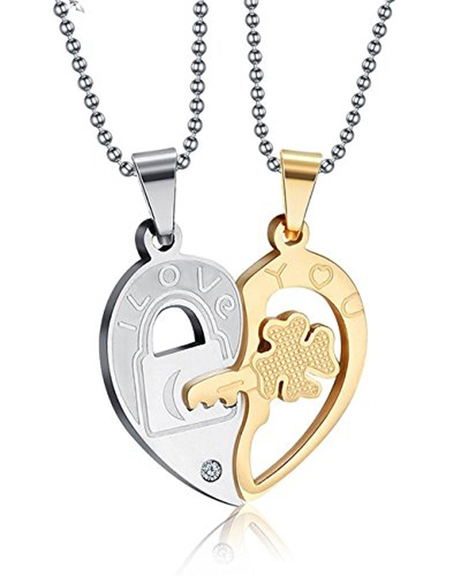 Valentine couple matching pendants necklaceus engraving
