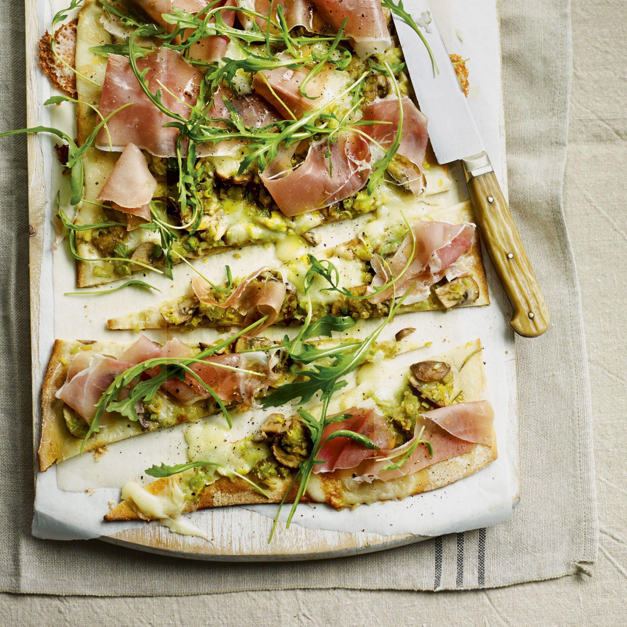 Cheats Leek Mushroom And Taleggio Pizza With Sliced Prosciutto
