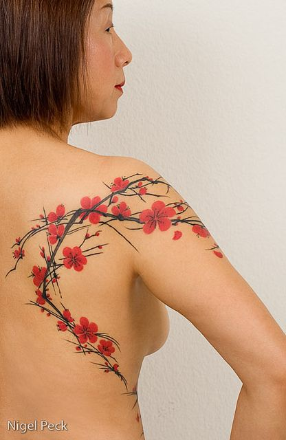 Freehand Cherry Blossoms By Tattoo Temple Unique Living Art Via Flickr Blossom Tattoo Cherry Blossom Tattoo Skin Color Tattoos