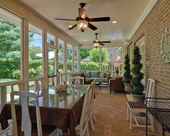 Patio screened in porch design pictures remodel decor - Narrow porch decorating ideas ...