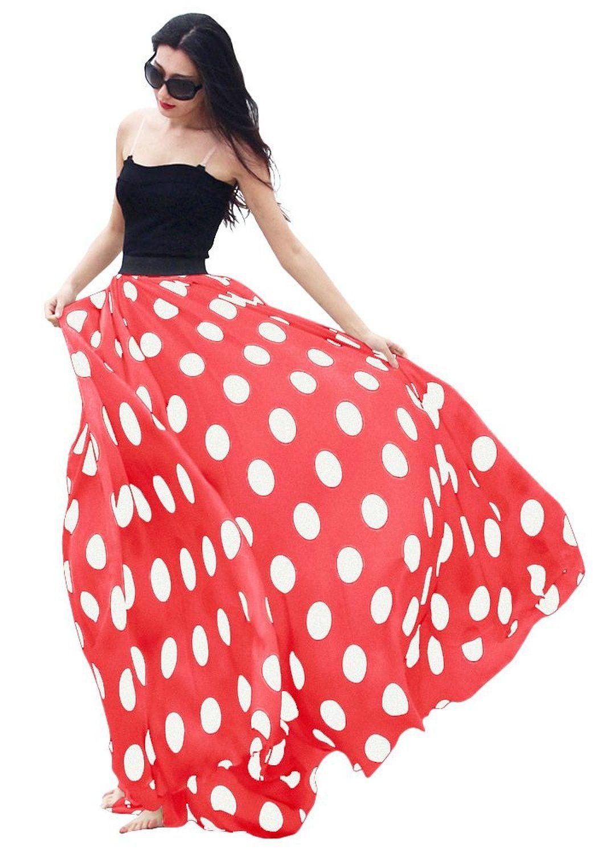 94dc6a5ad8c7fb Women's Fashion Chiffon Polka Dot Print High-waist Summer Long Maxi Skirt  (Large, Red) at Amazon Women's Clothing store: