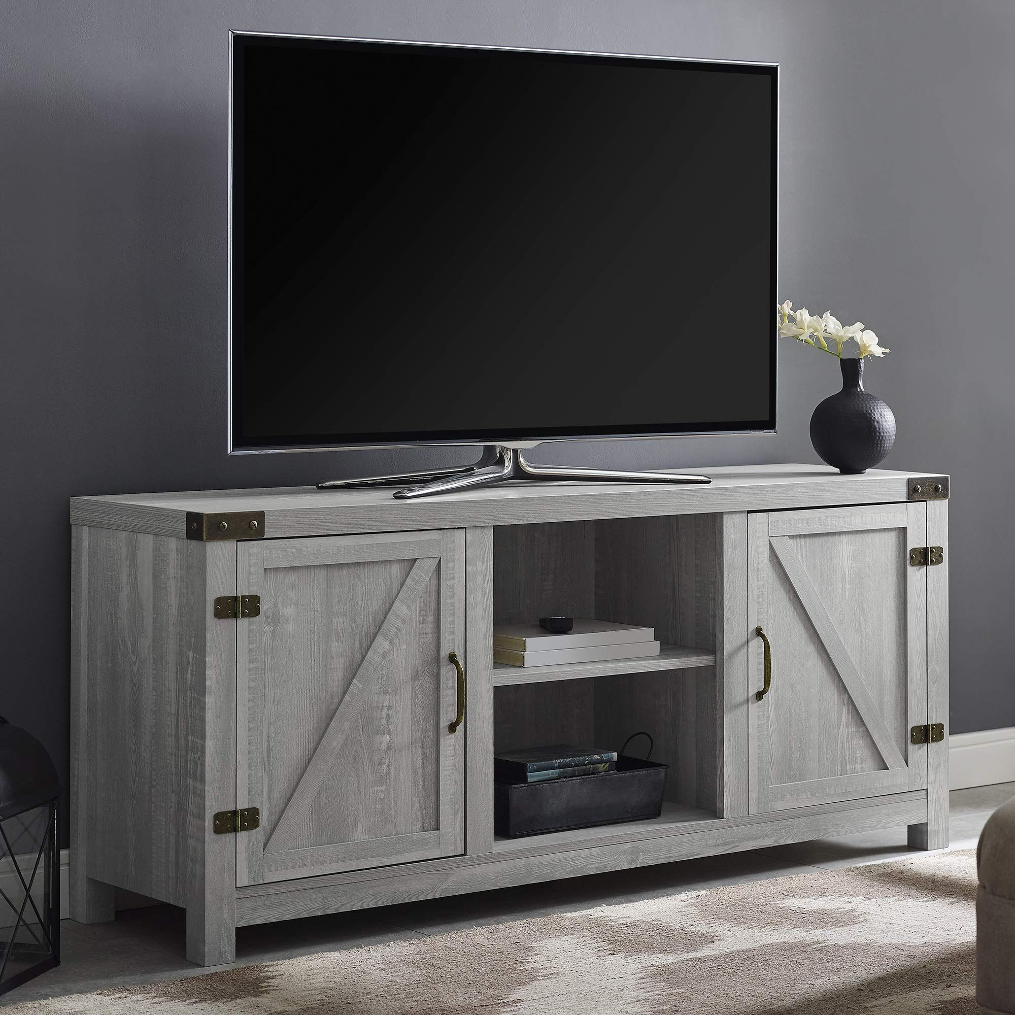 We Furniture Az58bdsdst Tv Stand 58 Stone Grey Amazon With