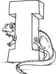colouring page of letter I with a lizard