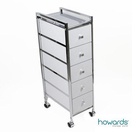 Slim 5 Drawer Cabinet Trolley White A Versatile Trolley