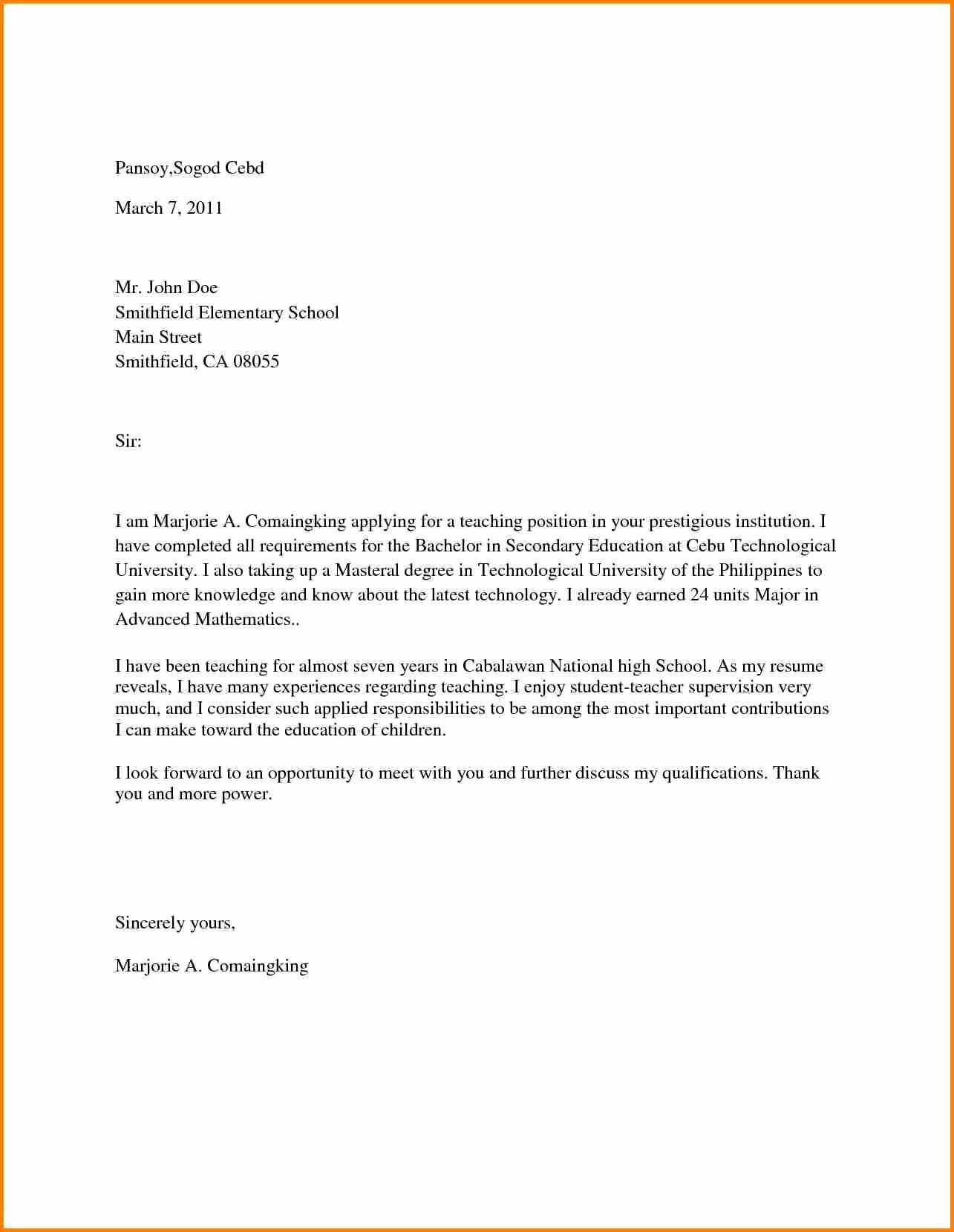 25 Sample Cover Letter For Teacher Cover Letter Teacher Letter