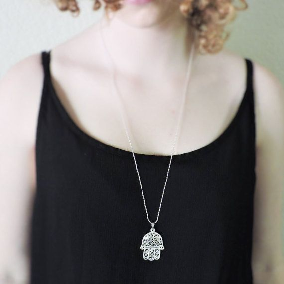 Large hamsa pendant necklace in sterling silver by kissingravens large hamsa pendant necklace in sterling silver by kissingravens jewelry kissingravens mozeypictures Image collections