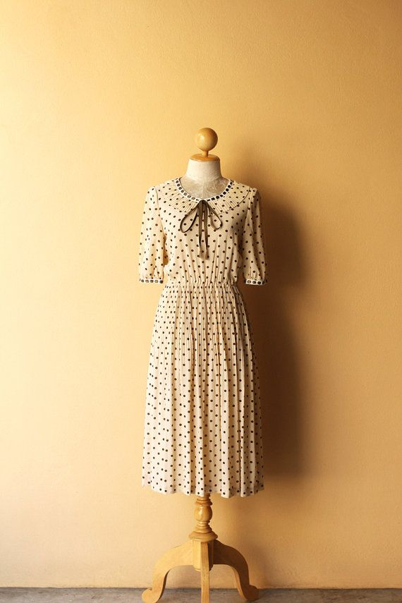 OPENING SALE 25% Vintage 1970's Casual Dress / Cream-Olive Green Polka Dot / Ribbon Bow Inserted in Cotton Lace / Pleat Peter Pan Collar