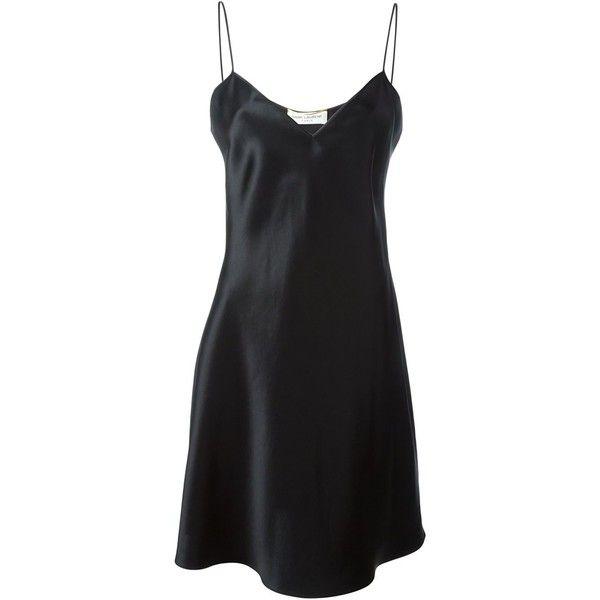 ac10fe085766 Saint Laurent slip dress ($1,335) ❤ liked on Polyvore featuring dresses,  black, silk dress, yves saint laurent, silk slip dress, slip dress and yves  saint ...