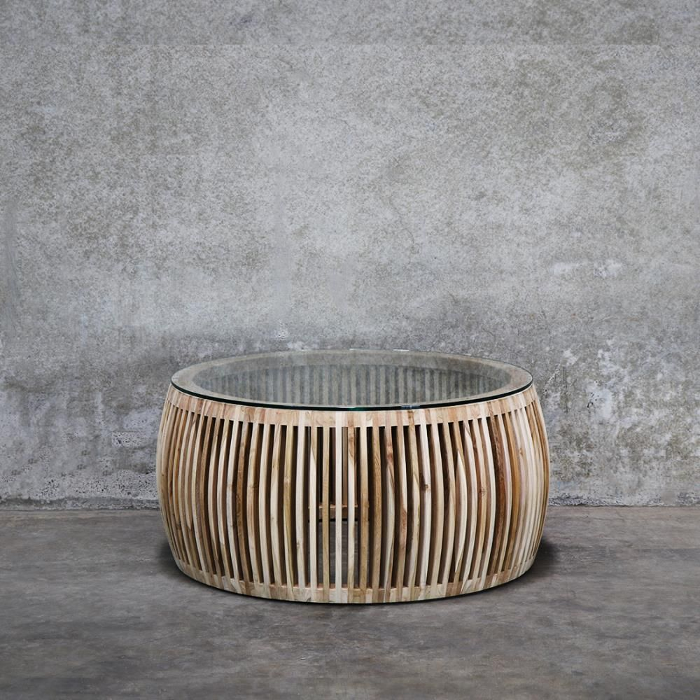 Coffee Tables Crusoe Recycled Teak Round Slatted Coffee Table Glass Top Teak Coffee Table Glass Top Coffee Table Coffee Table [ 1000 x 1000 Pixel ]