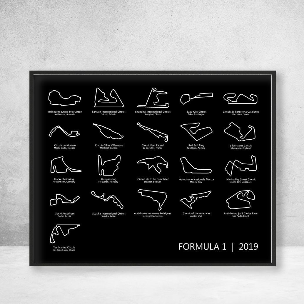 Formula 1 Race Track F1 Circuit Print Landscape Black Formula 1 Racing Calendar Race Track