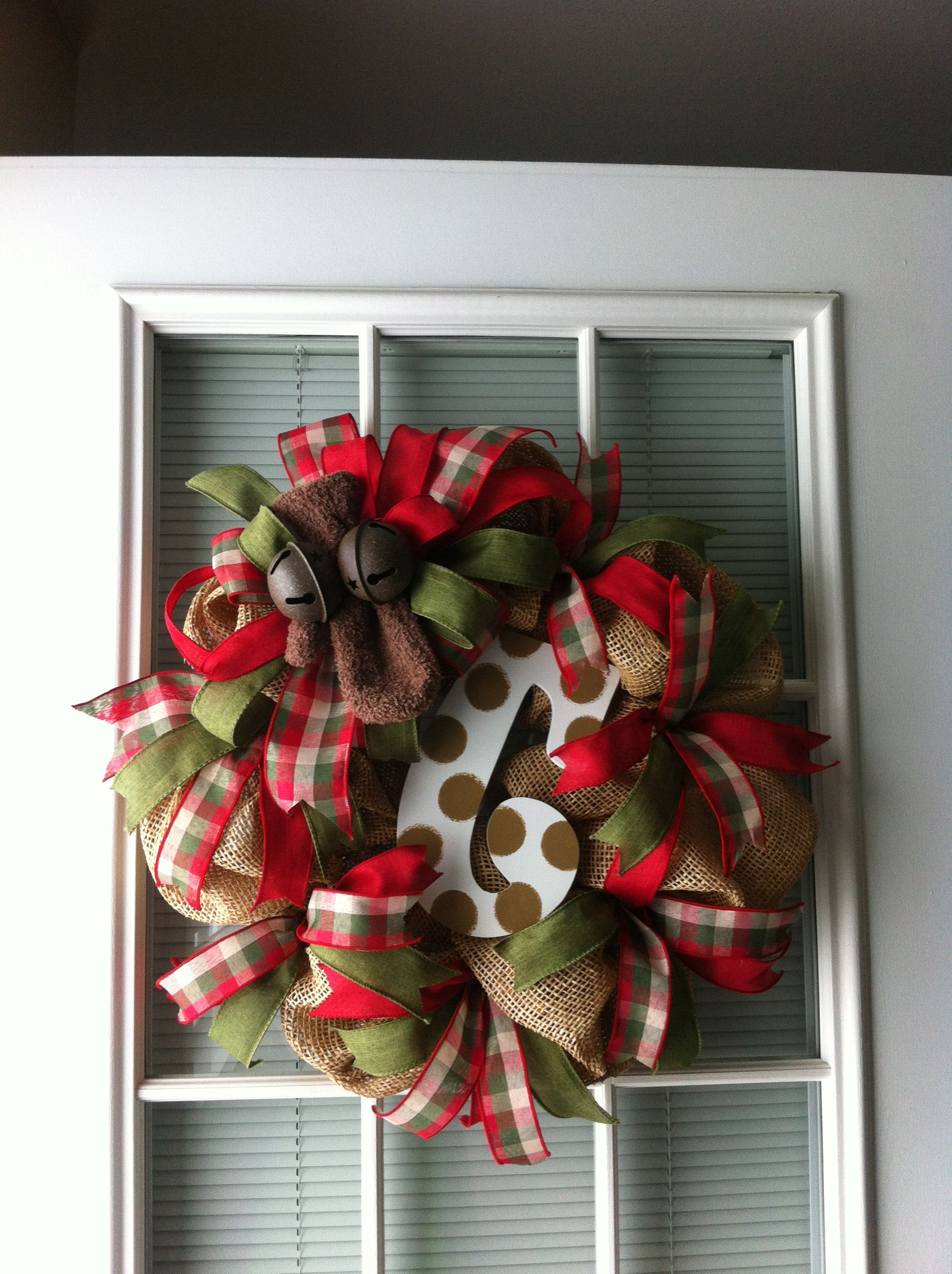 Large Christmas Bells Decorations Holiday Wreath With Mesh Burlap Solid And Plaid Ribbons Mitten