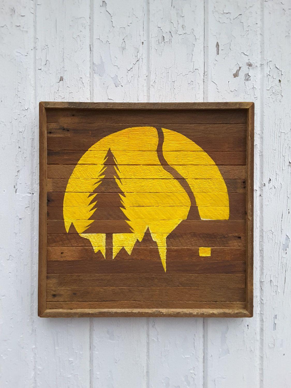 Reclaimed wood wall art landscape silouette mountain scene