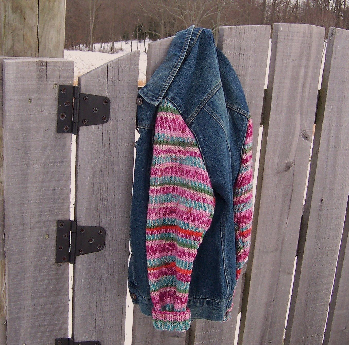 Raspberry Pink Striped Sweater Sleeves Denim Jacket, Steve & Barry upcycled size XL women's bust size 44. $59.00, via Etsy.