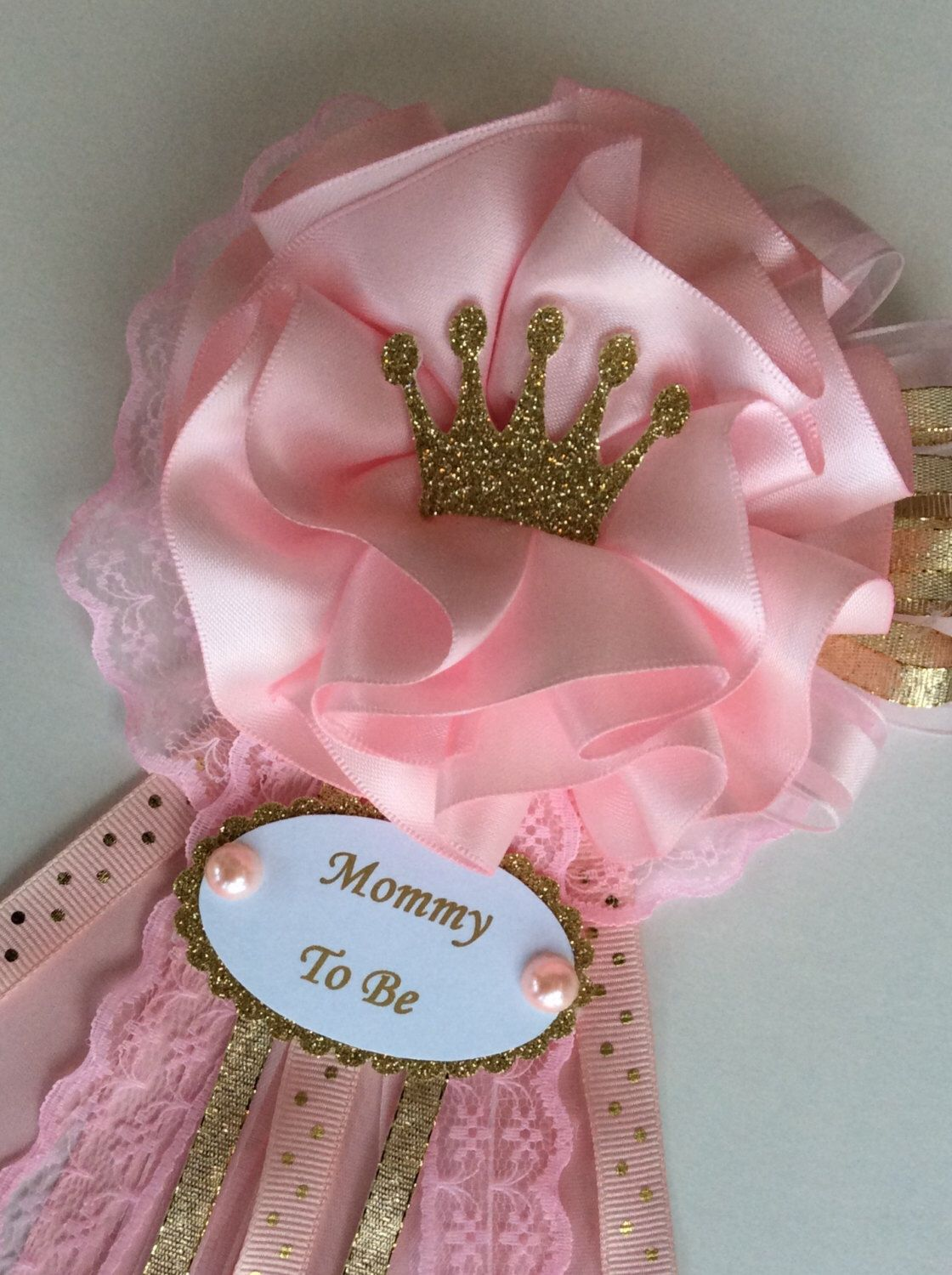 Princess Baby Shower Corsage/Crown Baby Shower Corsage/Pink And Gold Baby  Showeru2026