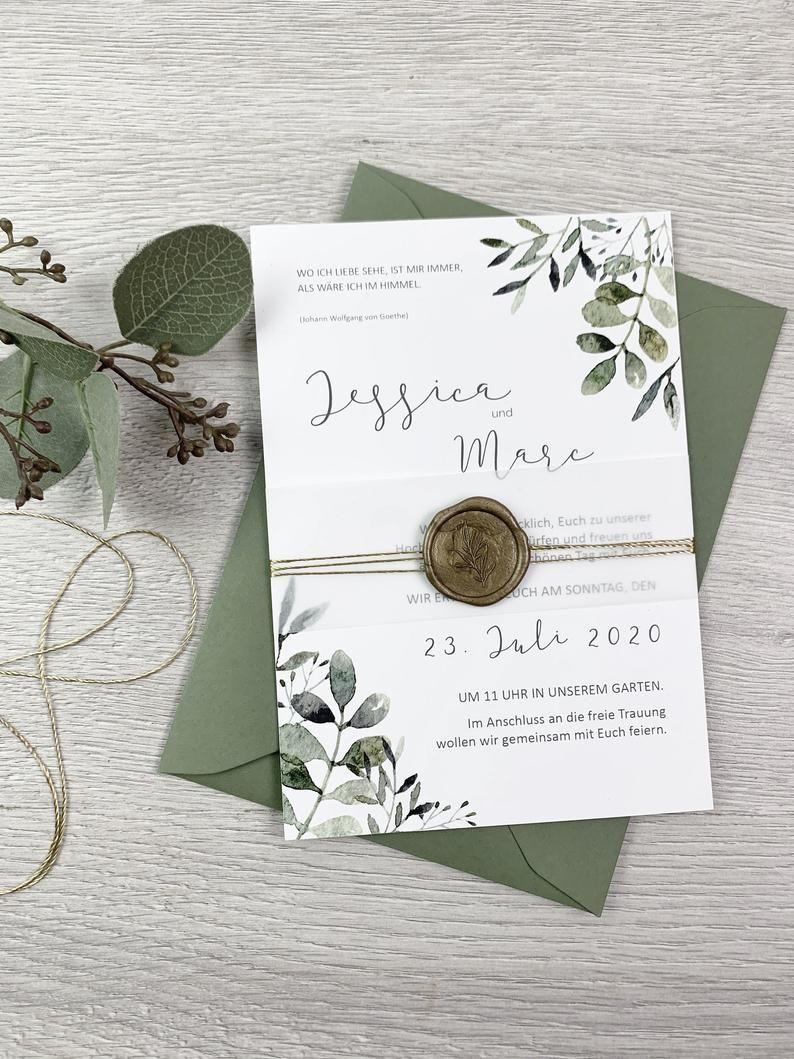 Einladung Hochzeit Hochzeitseinladung Eukalyptus | Etsy