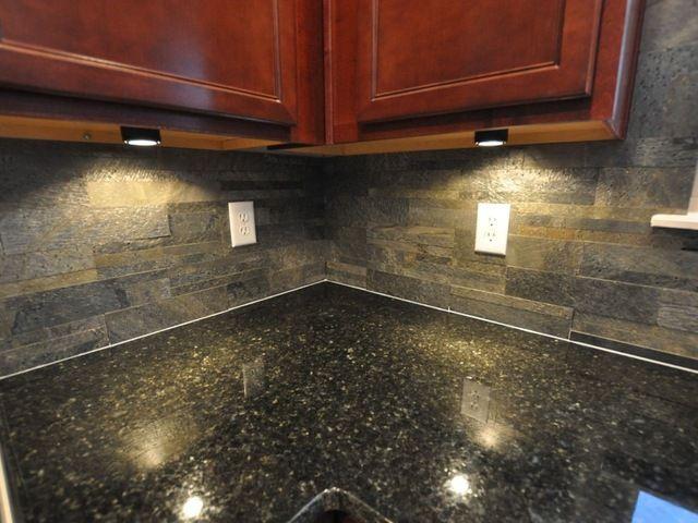 Natural Slate Backsplash With Dark Maple Cabinets Bing