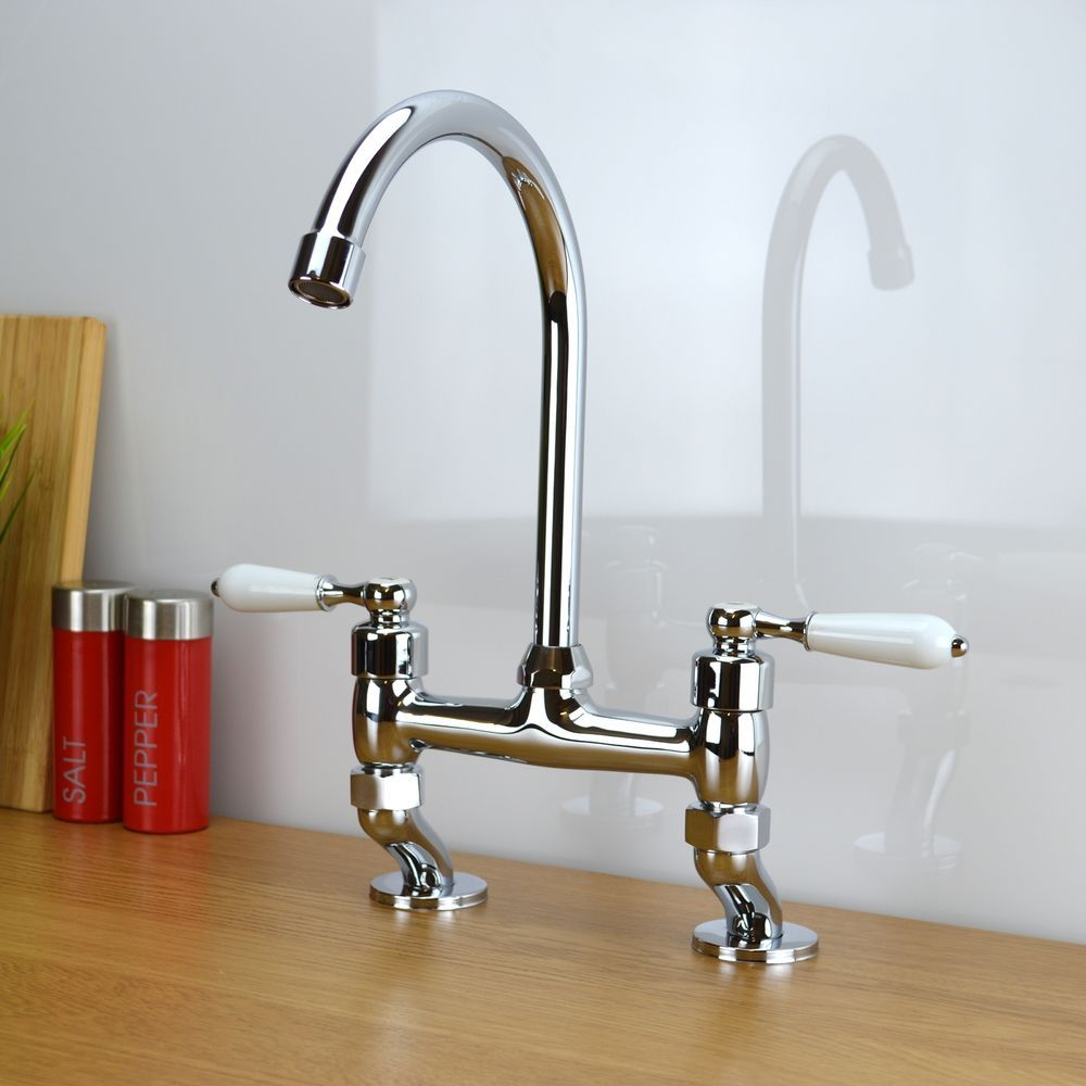 Traditional Classic White Lever Bridge Kitchen Sink Mixer Tap Chrome ...