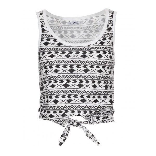 Women's Aztec Print White And Black Tie Front Crop Top ❤ liked on Polyvore featuring tops, shirts, crop tops, tank tops, crop tank, tie shirt, print crop tops, cropped tank tops and pattern shirts