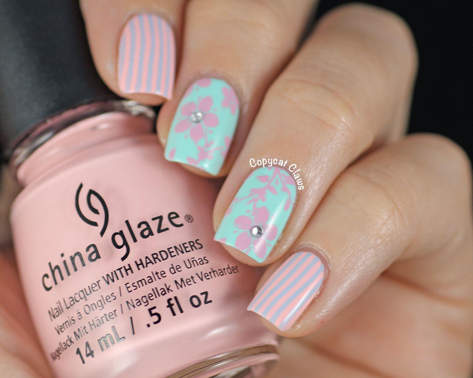 Flowers Nail Art Nude And Mint Nails Nail Design China Glaze