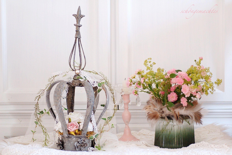 Deko Krone Mit Blumen Shabby Chic Schongemachtes Shabby Deko