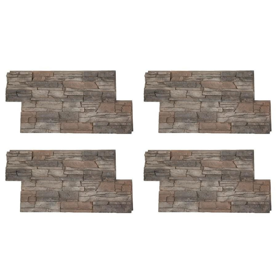 Square Stone Stacked Accent Wall: GenStone Stacked Stone 28-sq Ft Kenai Faux Stone Veneer